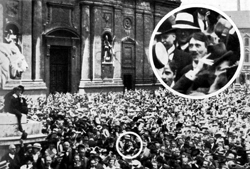 Young Hitler 1914 among fellow Germans in Munich celebrating the beginning of WWI